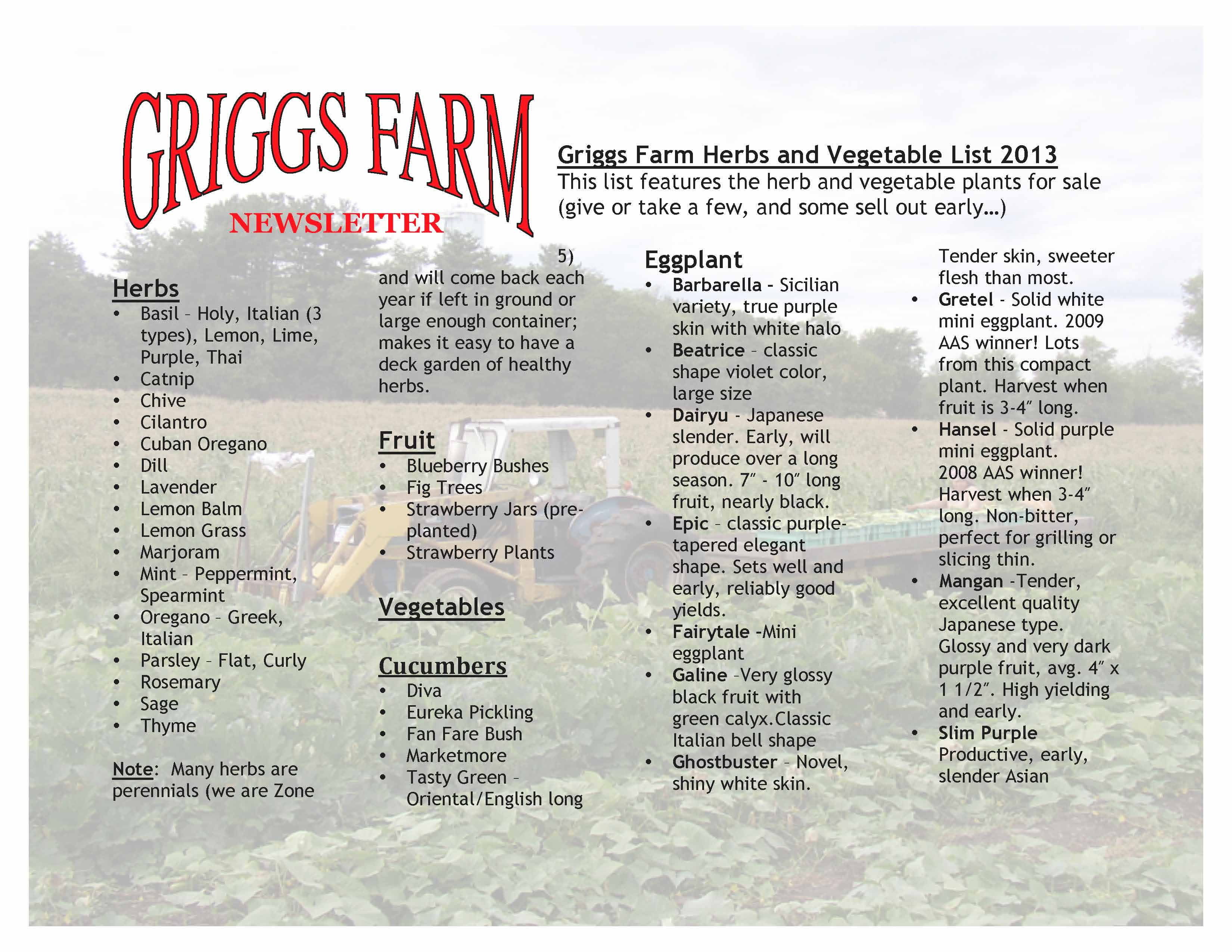 Griggs Farm Herbs and Vegetable List 2013